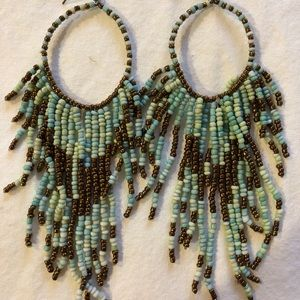 Beaded, teal and gold, bohemian earrings.
